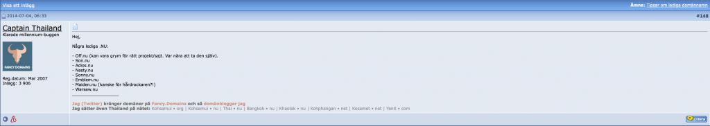 Inlägg på wn.se om lediga domännamn