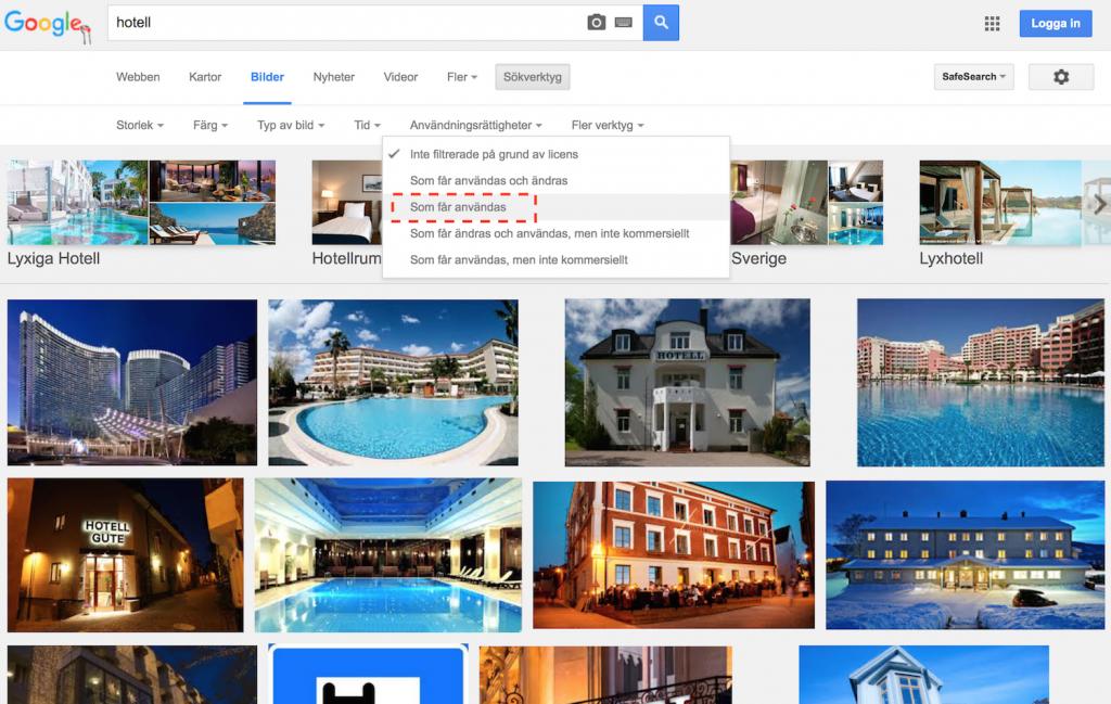 Bilder som får användas gratis i google bildsök