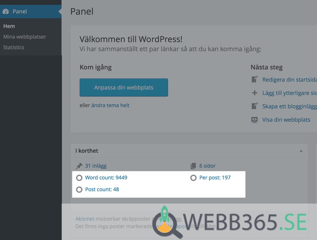 Innehållsmängd i WordPress