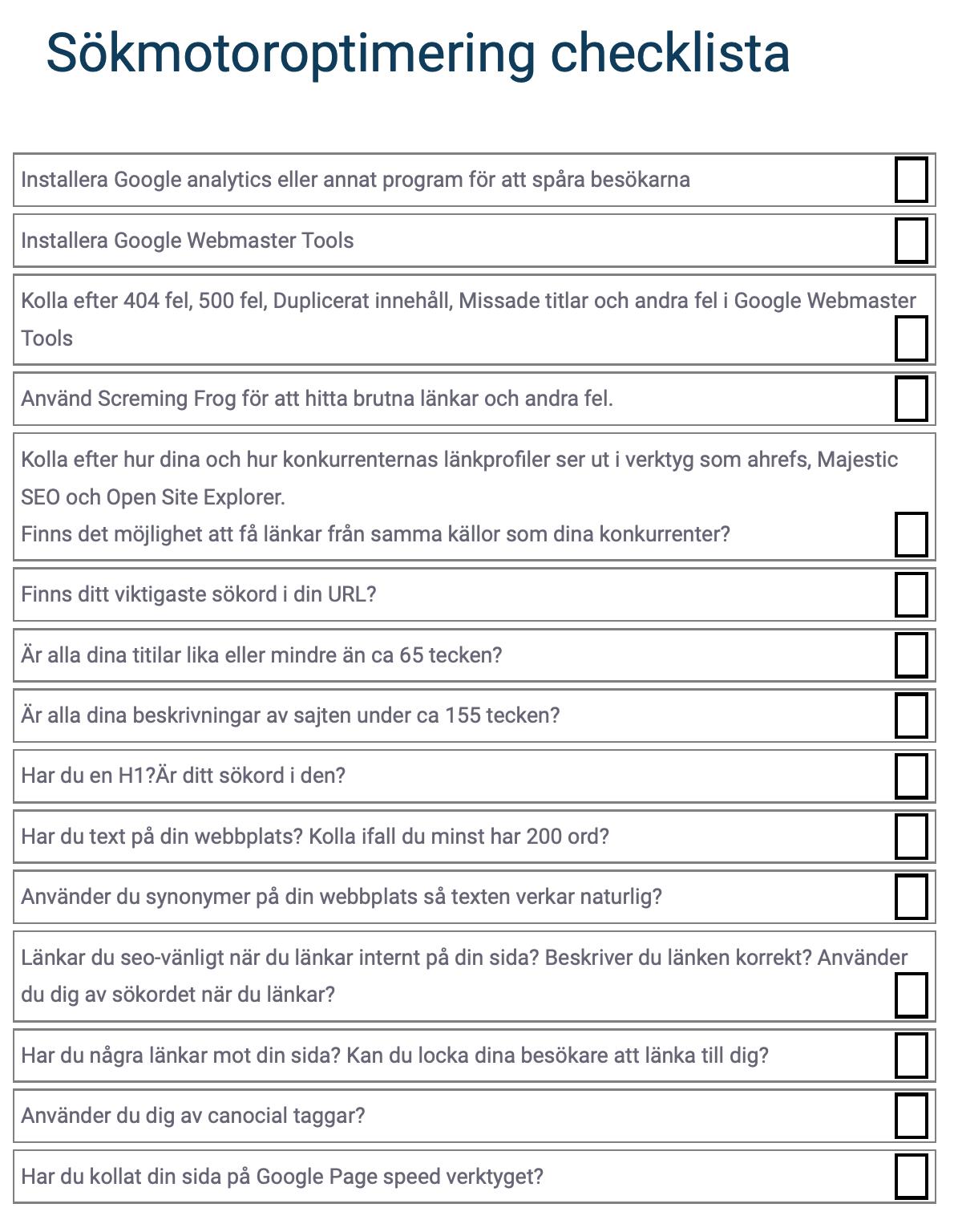 Sökmotoroptimering checklista